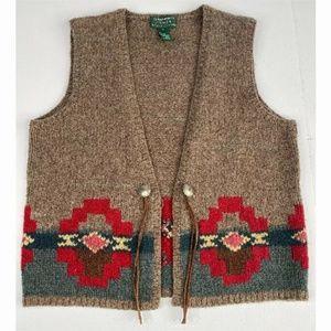 RALPH LAUREN Wool Alpaca Vest Aztec Brown Red SZ L